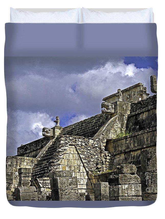 Chichen Itza Duvet Cover featuring the photograph Tzompantli by Ken Frischkorn