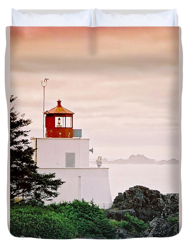 Lighthouses Duvet Cover featuring the photograph Ucluelet Lighthouse by Randy Harris