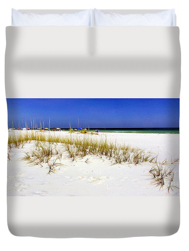 Panorama Duvet Cover featuring the photograph Umbrellas On The Beach by Judi Bagwell
