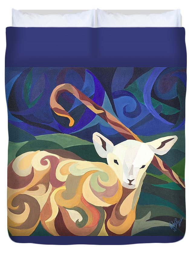 Lamb Duvet Cover featuring the painting Unfamiliar Paths by Kimberly Riggs