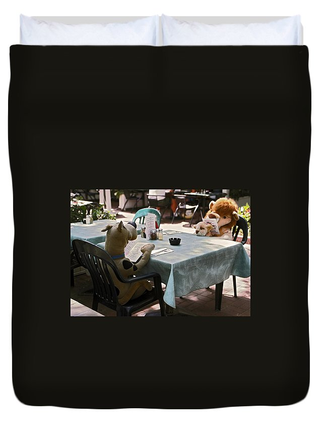 2 Large Stuffed Animals Sitting Reading Menus Duvet Cover featuring the photograph Unusual Diners by Sally Weigand