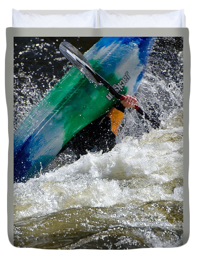 Kayaks Duvet Cover featuring the photograph Up And Over by Don Schwartz