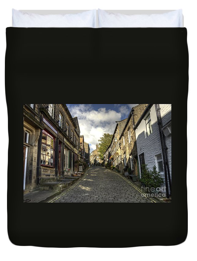 Haworth Duvet Cover featuring the photograph Uphill At Haworth by Rob Hawkins