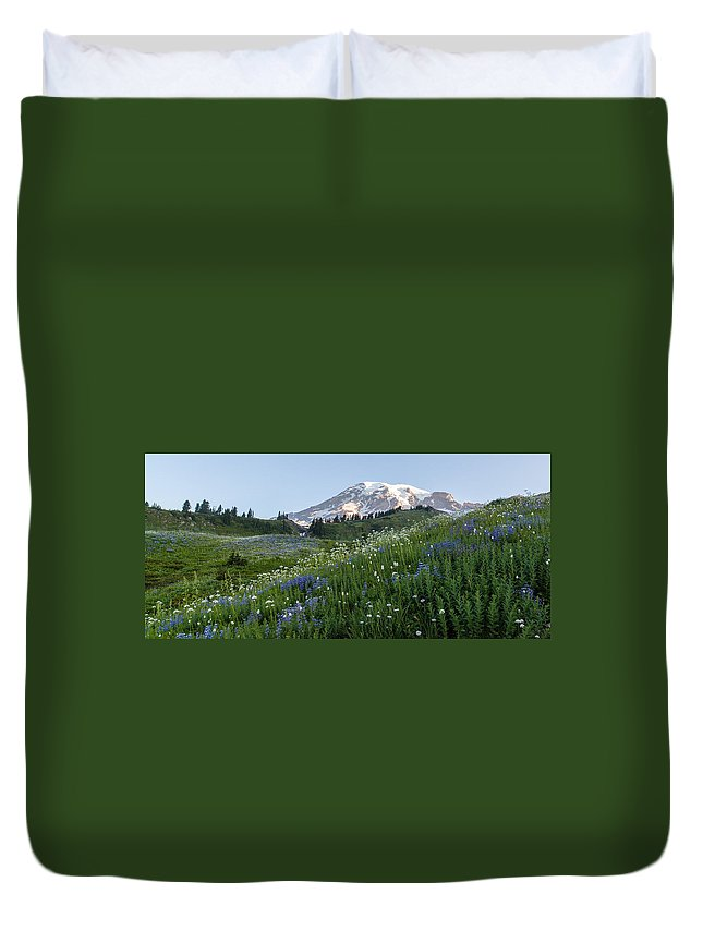 Rainier Duvet Cover featuring the photograph Upon A Hill by Mike Reid