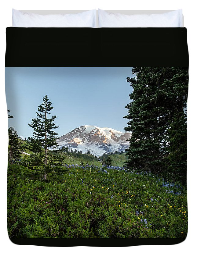 Rainier Duvet Cover featuring the photograph Upon A Hill Of Flowers by Mike Reid