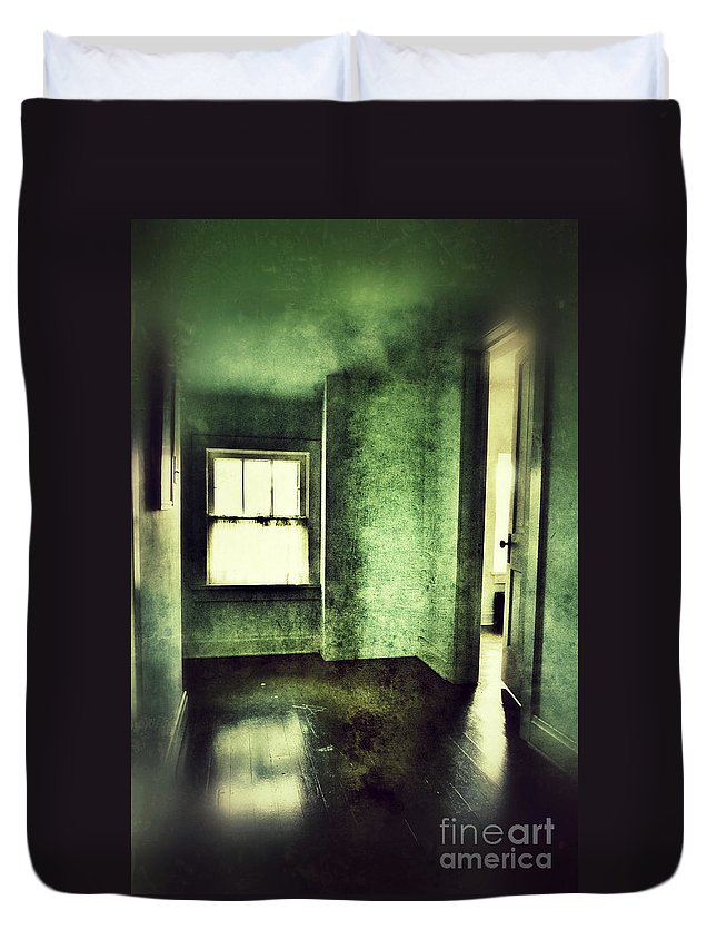 Hall Duvet Cover featuring the photograph Upstairs Hallway In Old House by Jill Battaglia