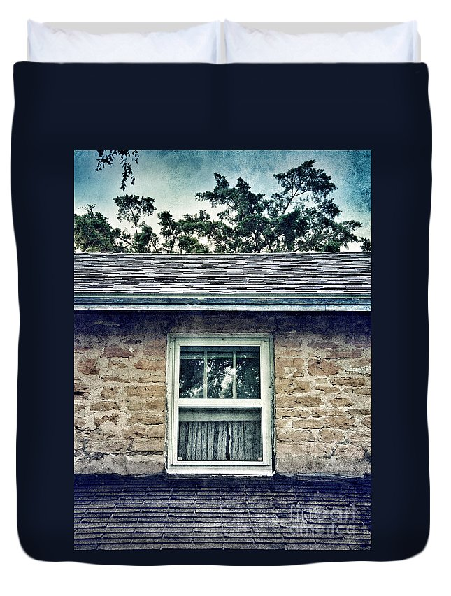 House Duvet Cover featuring the photograph Upstairs Window In Stone House by Jill Battaglia