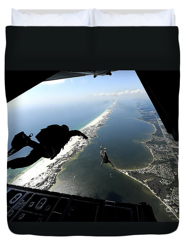 Florida Duvet Cover featuring the photograph U.s. Airmen Jump Out Of A C-130 by Stocktrek Images