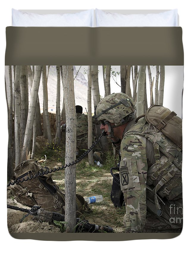 Woods Duvet Cover featuring the photograph U.s. Army Soldier Communicates Possible by Stocktrek Images