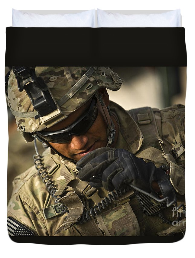 Strategy Duvet Cover featuring the photograph U.s. Army Soldier Communicates by Stocktrek Images