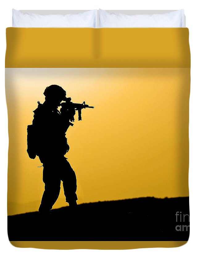 Provincial Reconstruction Team Duvet Cover featuring the photograph U.s. Army Soldier Secures An Area by Stocktrek Images