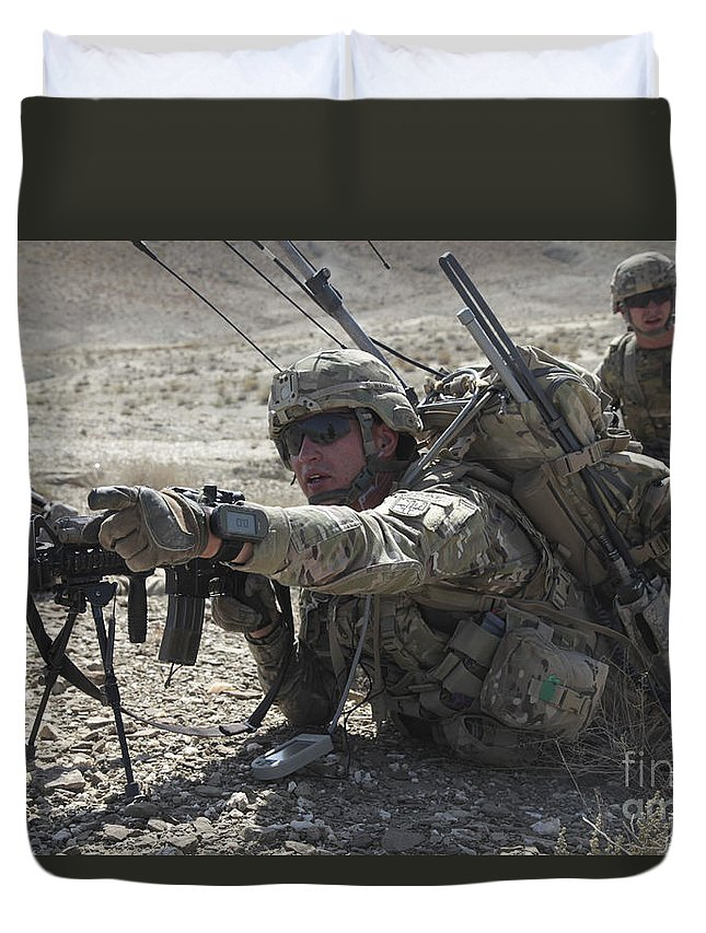 Operation Enduring Freedom Duvet Cover featuring the photograph U.s. Army Soldiers Provide Security by Stocktrek Images