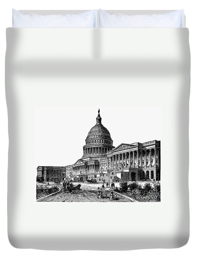 1884 Duvet Cover featuring the photograph U.s. Capitol, 1884 by Granger