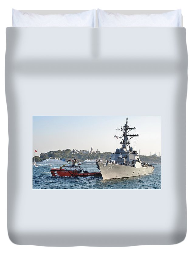 Navy Duvet Cover featuring the photograph Us Cruiser Docking In Istanbul by Ian MacDonald