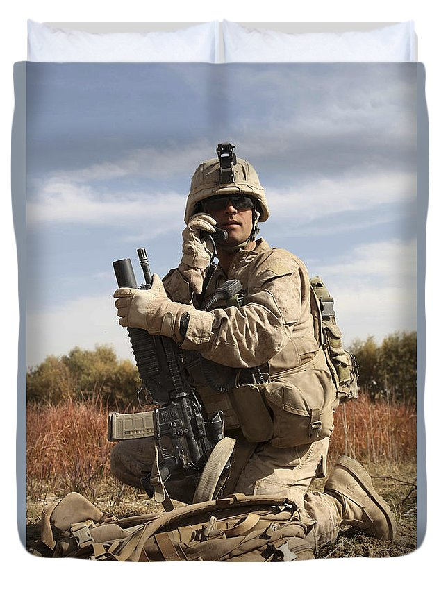 Soldier Duvet Cover featuring the photograph U.s. Marine Communicates by Stocktrek Images