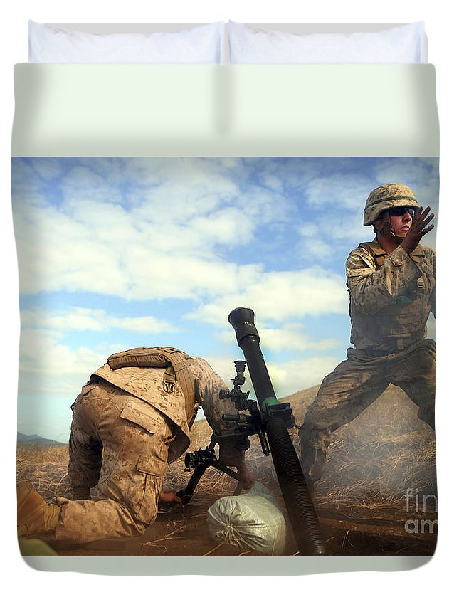 Australia Duvet Cover featuring the photograph U.s. Marine Holds A Mortar Tube Steady by Stocktrek Images