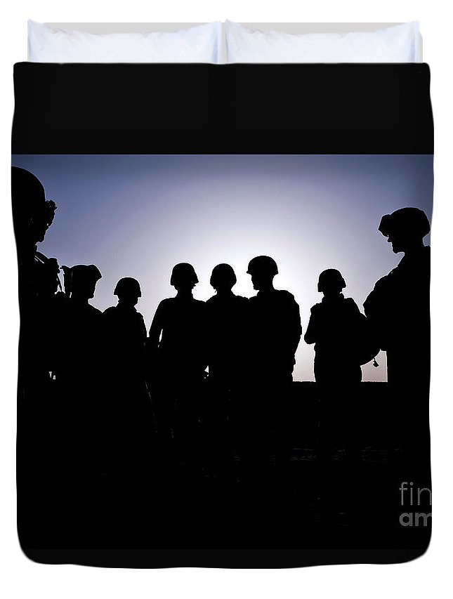 Afghanistan Duvet Cover featuring the photograph U.s. Marines And Civilian Contractors by Stocktrek Images