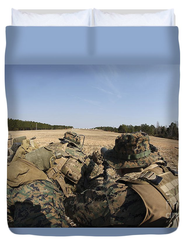 Sniper Rifles Duvet Cover featuring the photograph U.s. Marines Participate In A Known by Stocktrek Images