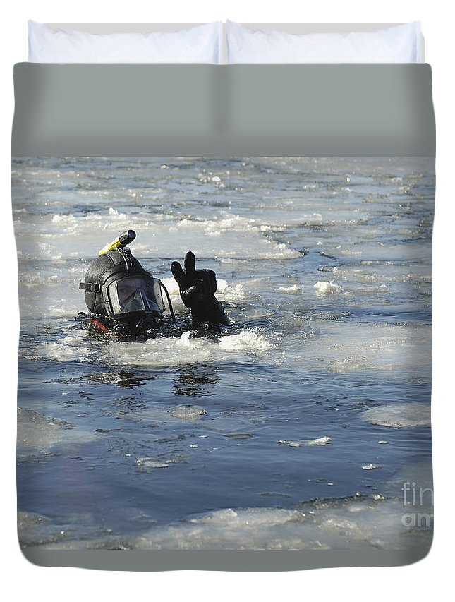 Adults Only Duvet Cover featuring the photograph U.s. Navy Diver Signals He Is Okay by Stocktrek Images