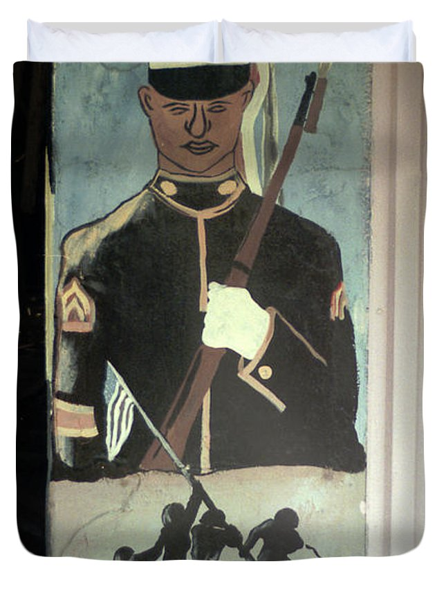 Louisiana Duvet Cover featuring the photograph Usmc Mural by Doug Duffey