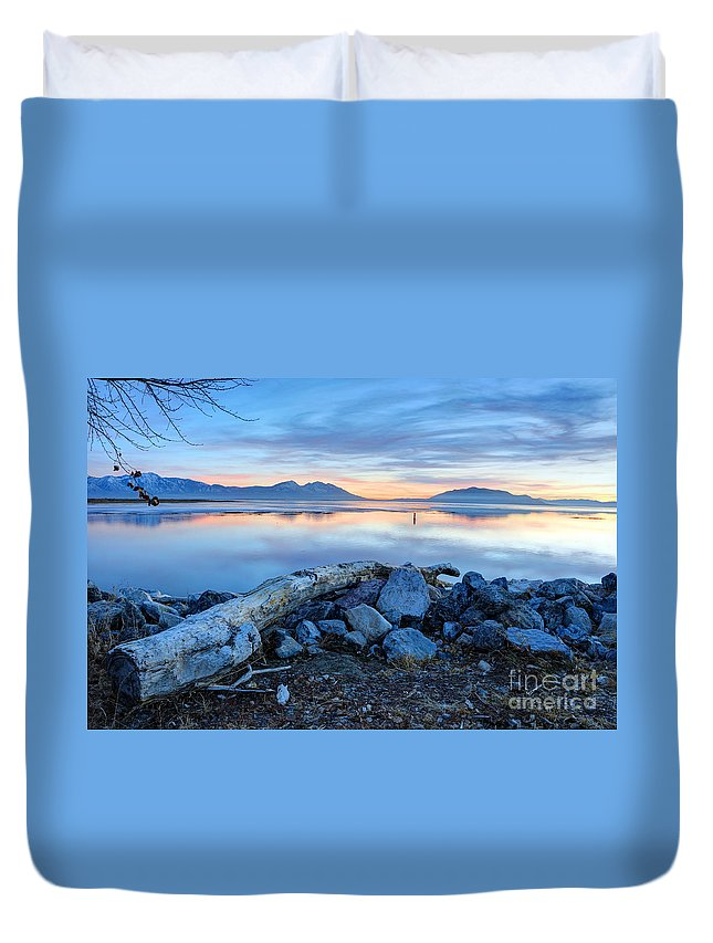 Wasatch Mountains Duvet Cover featuring the photograph Utah Lake At Sunset by Gary Whitton