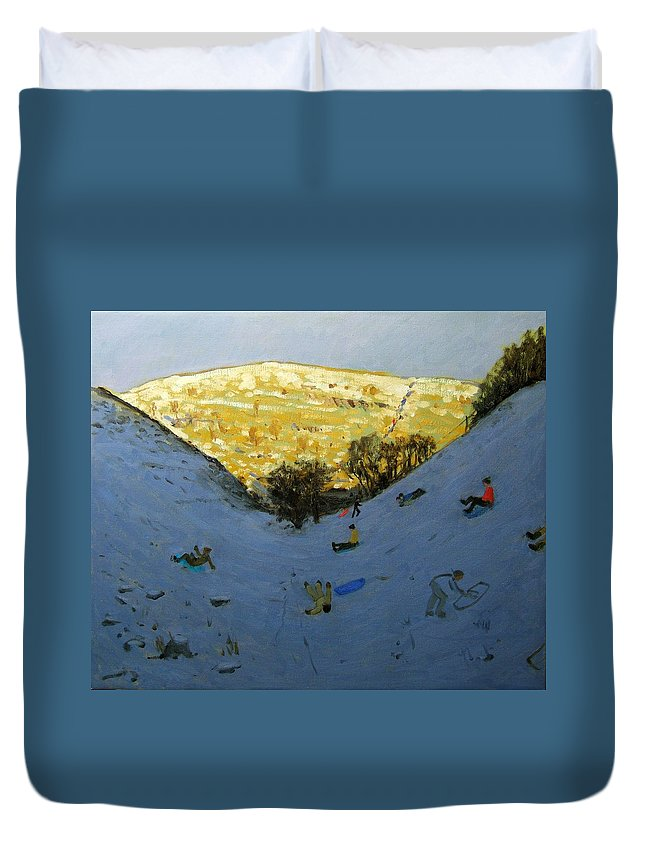 Sledging Duvet Cover featuring the painting Valley And Sunlit Hillside by Andrew Macara