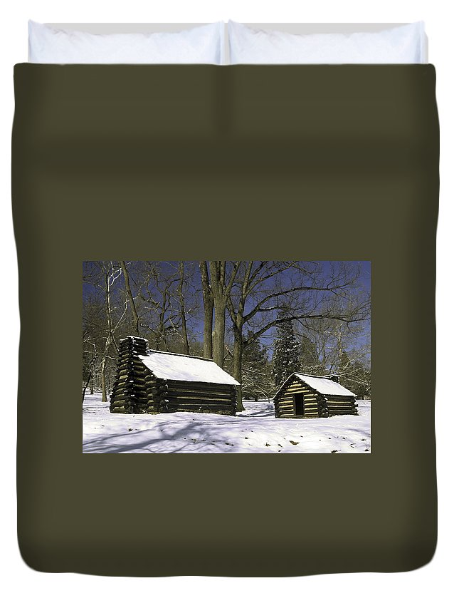 Revolutionary War Soldiers Log Huts Duvet Cover featuring the photograph Valley Forge Winter by Sally Weigand