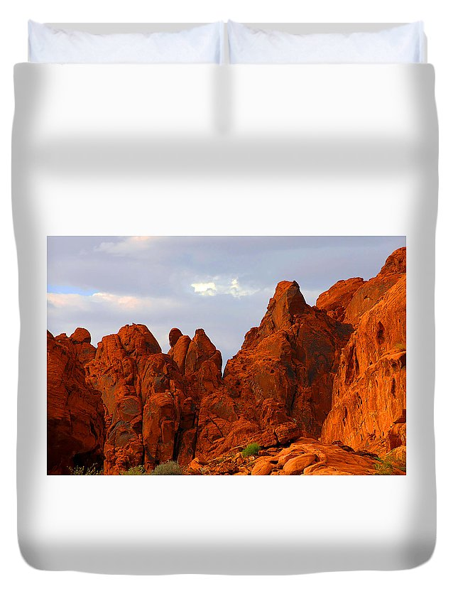 Nevada Duvet Cover featuring the photograph Valley of Fire - The landscape burns by Alexandra Till