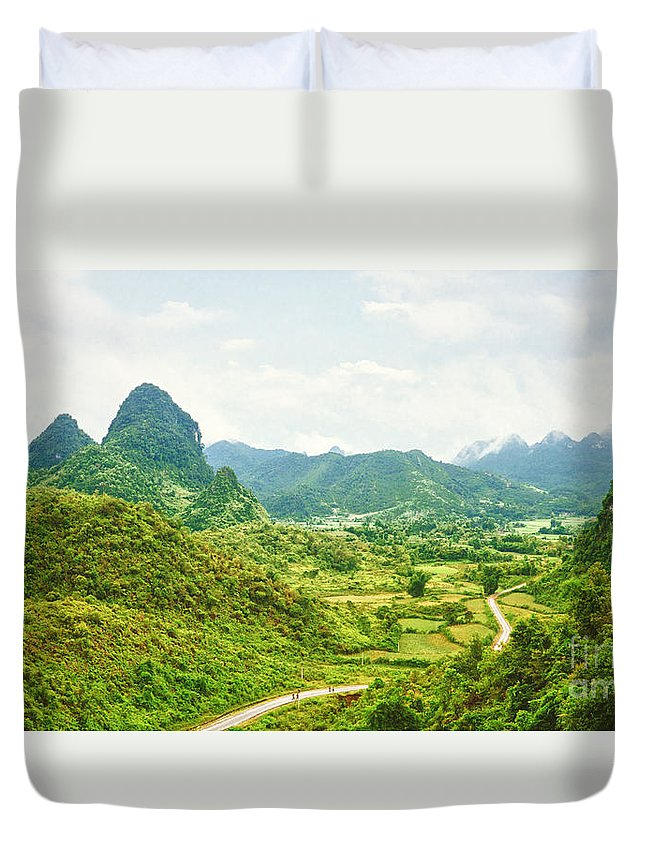 Valley Duvet Cover featuring the photograph Valley Panorama by MotHaiBaPhoto Prints