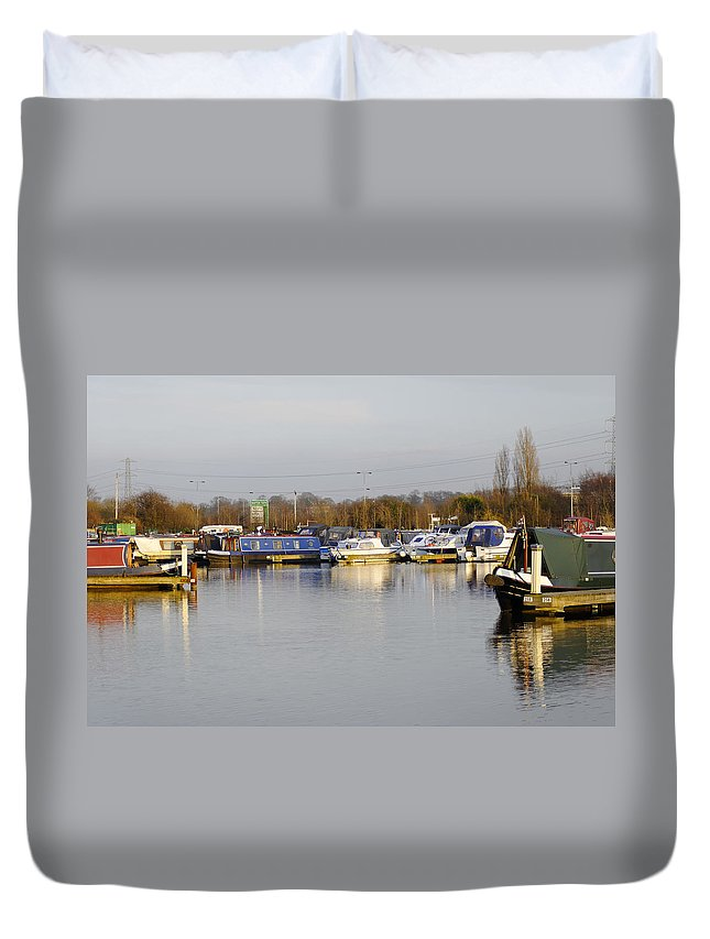 Staffordshire Duvet Cover featuring the photograph Various Boats At Barton Marina by Rod Johnson