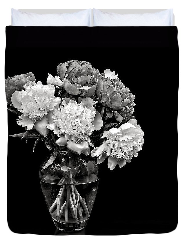 Flower Duvet Cover featuring the photograph Vase Of Peonies In Black And White by Endre Balogh