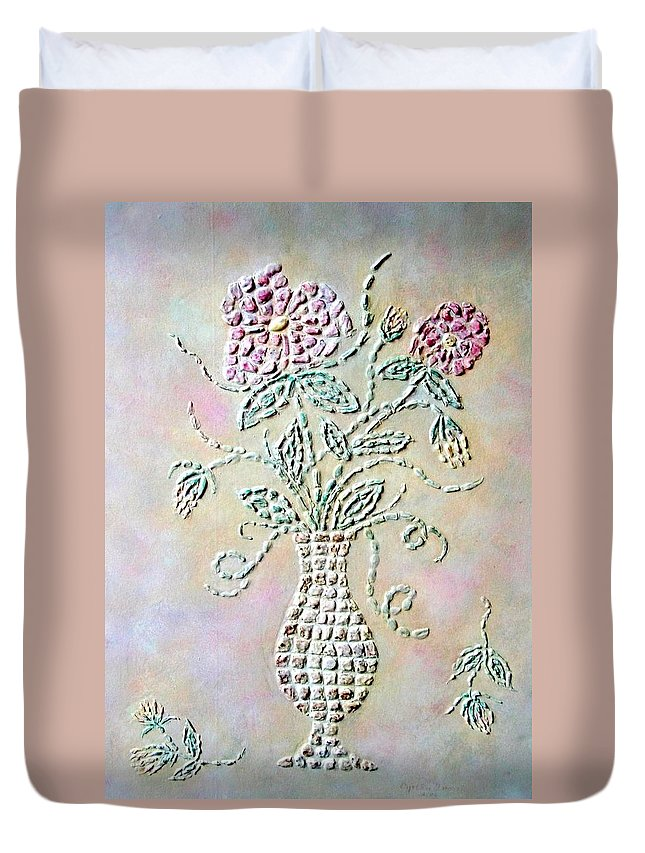 Vase Duvet Cover featuring the painting Vase With Flowers by Cynthia Amaral