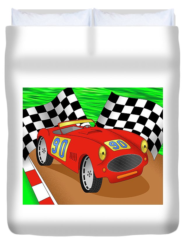 Racing Car Duvet Cover featuring the digital art Velocity by Alison Stein