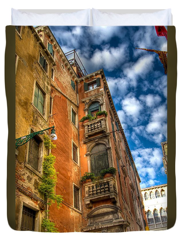 Venice Duvet Cover featuring the photograph Venice Apartment by Jon Berghoff