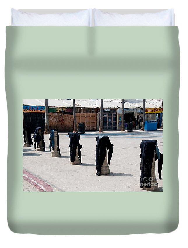 Duvet Cover featuring the digital art Venice Beach by Carol Ailles