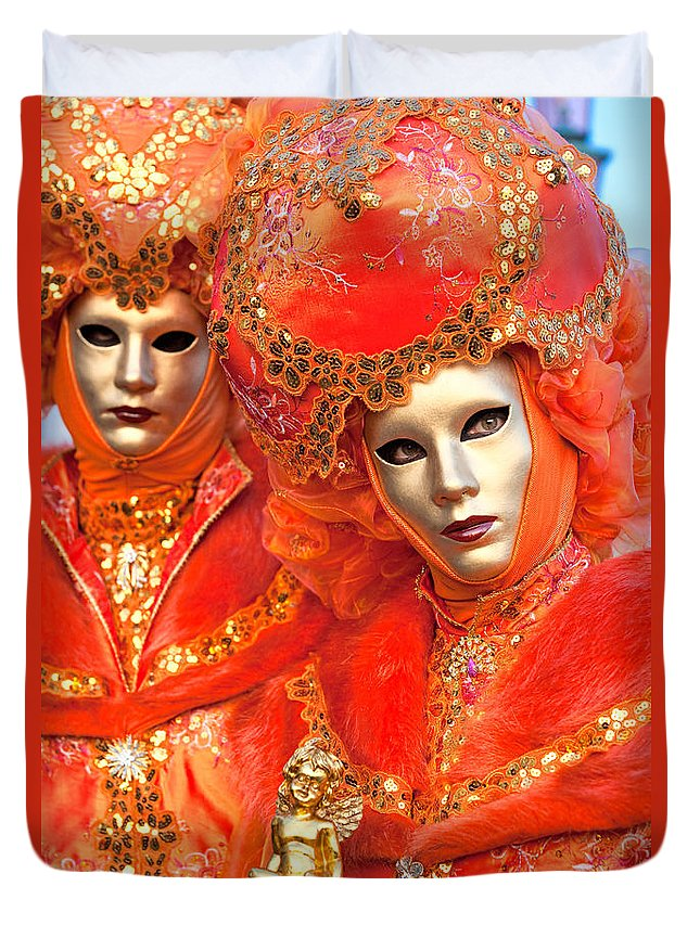 Carnaval Duvet Cover featuring the photograph Venice Masks by Luciano Mortula