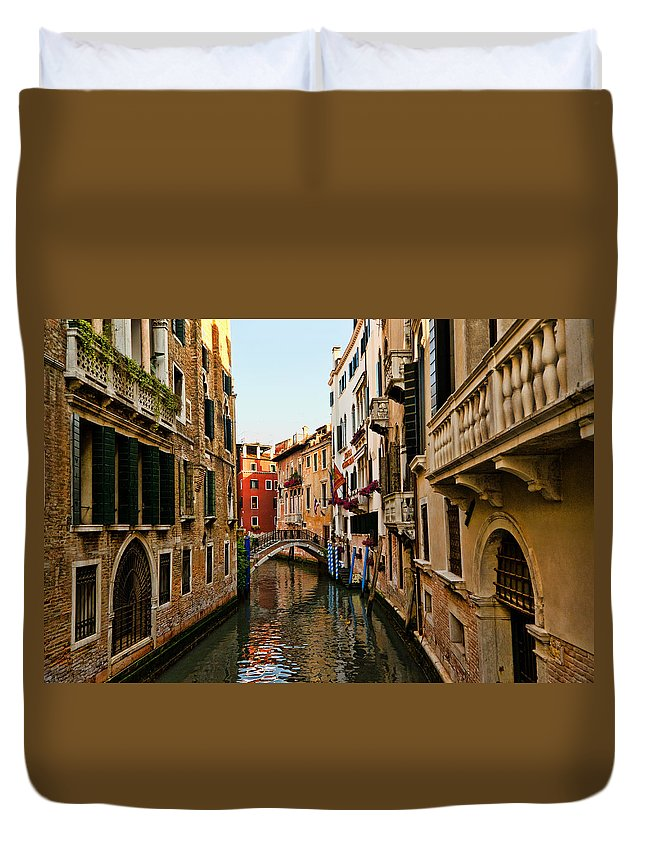 Venice Duvet Cover featuring the photograph Venice Waterway by Jon Berghoff