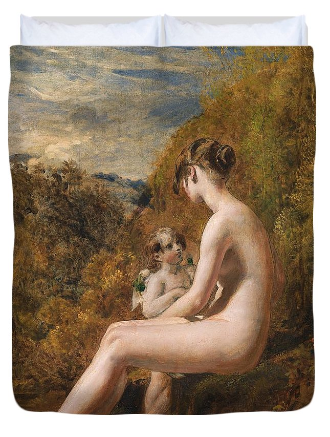 Venus And Cupid (oil On Millboard) Nude; Female; Landscape; Wings; Love; Seated; Full Length; Aphrodite; Talking; Conversation; Nude Duvet Cover featuring the painting Venus And Cupid by William Etty