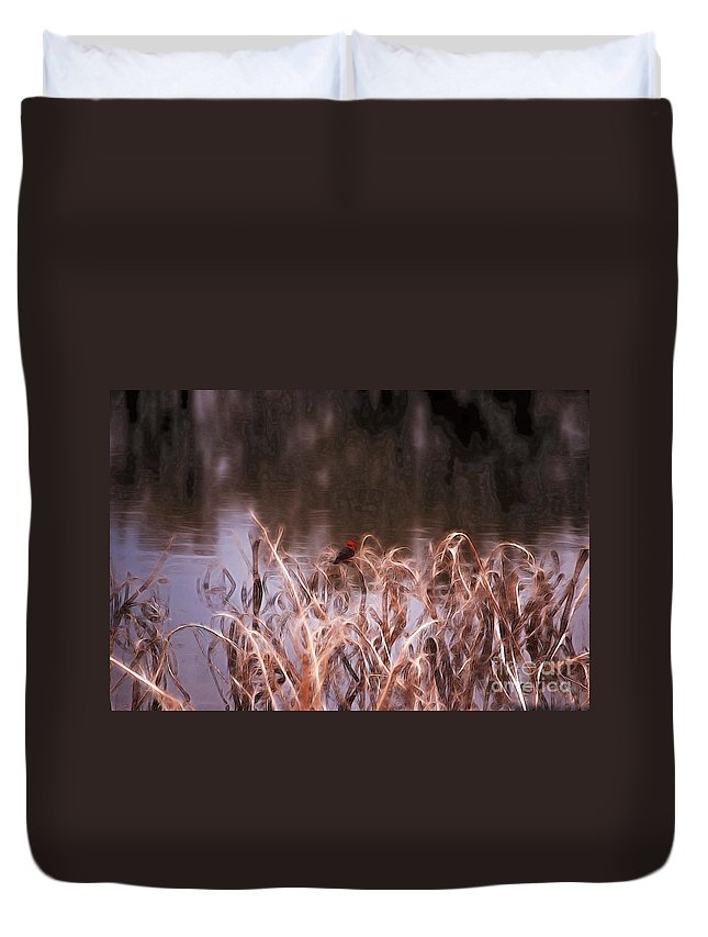 Fine Art Duvet Cover featuring the photograph Vermillion Flycatcher by Donna Greene