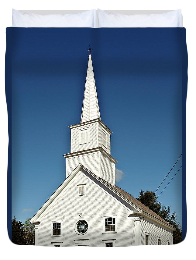 Andover Duvet Cover featuring the photograph Vermont Church. by John Greim