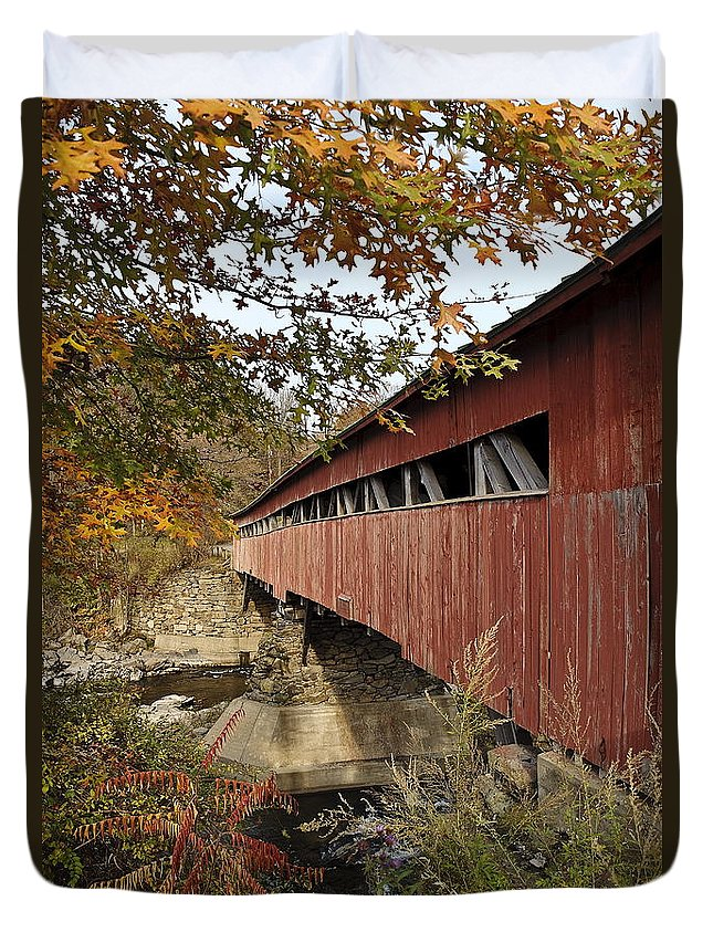 New England Duvet Cover featuring the photograph Vermont Covered Bridge by John Greim