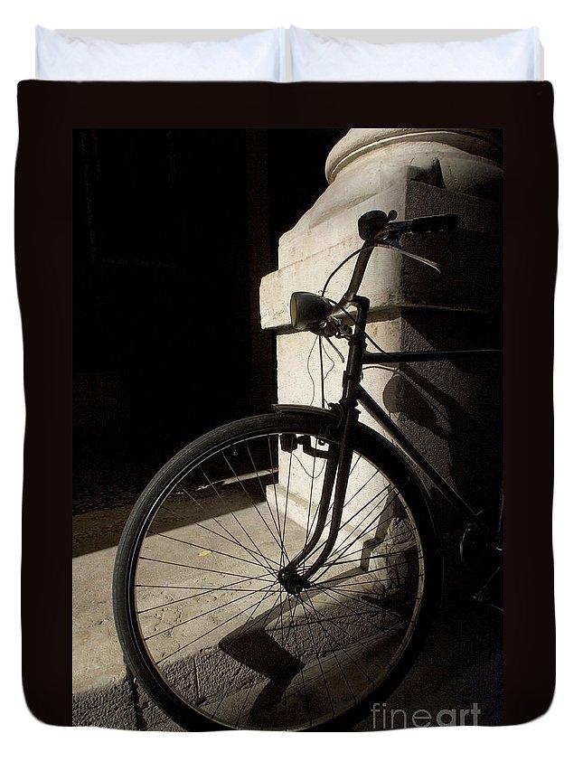 Verona Duvet Cover featuring the photograph Verona Bike by Alex Rowbotham