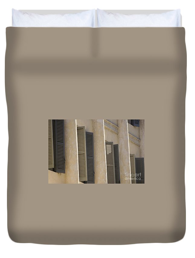 Europe Duvet Cover featuring the photograph Verona Shutters by Alex Rowbotham