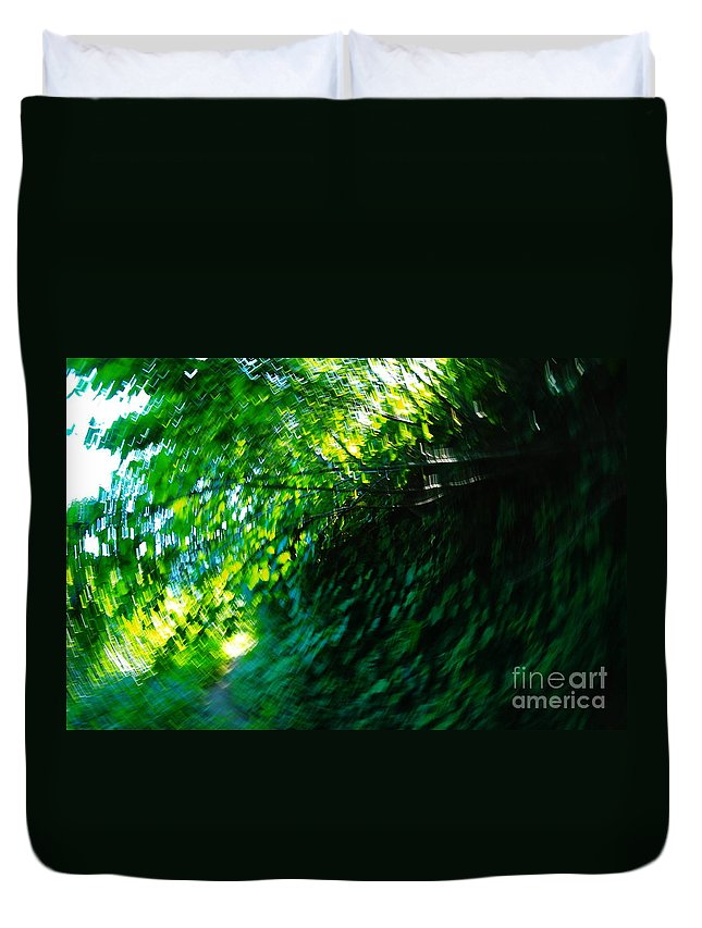 Leaves Duvet Cover featuring the photograph Vertigo by Jeff Swan