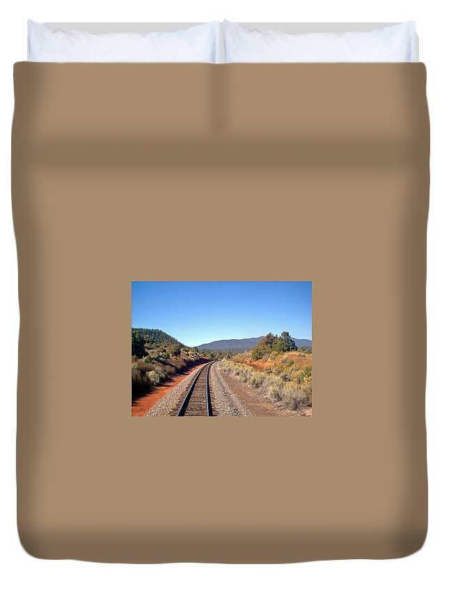 Train Duvet Cover featuring the photograph via Train 658 by Carolyn Stagger Cokley
