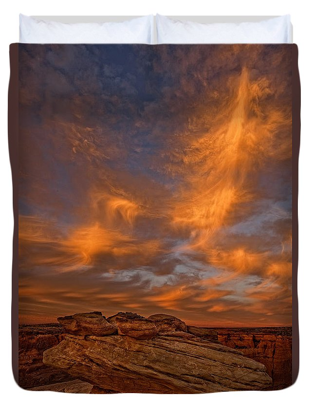 Light Duvet Cover featuring the photograph Vibrant Sunset Over The Rim Of Canyon by Robert Postma