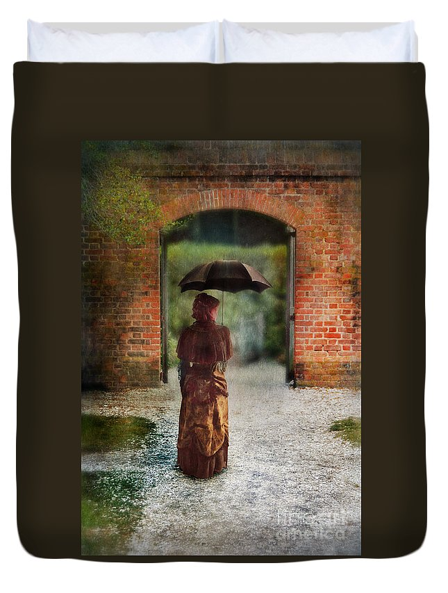 Lady Duvet Cover featuring the photograph Victorian Lady By Brick Archway by Jill Battaglia
