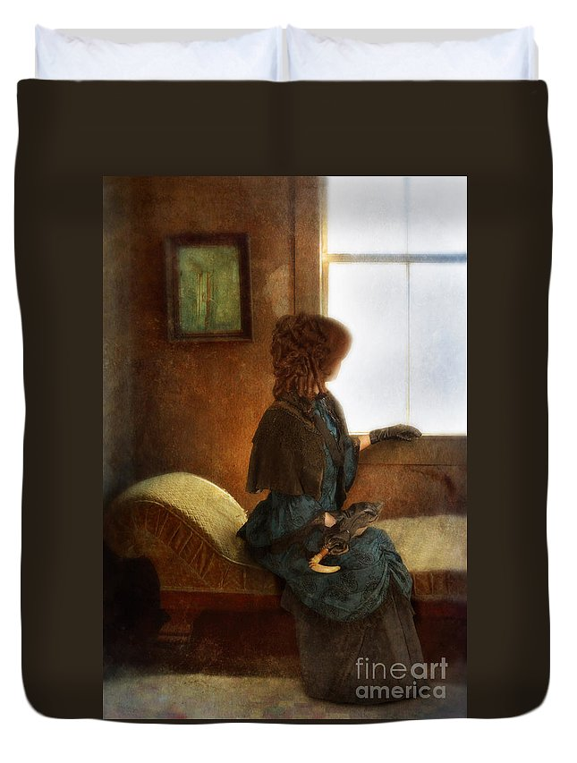 Woman Duvet Cover featuring the photograph Victorian Lady Gazing Out The Window by Jill Battaglia