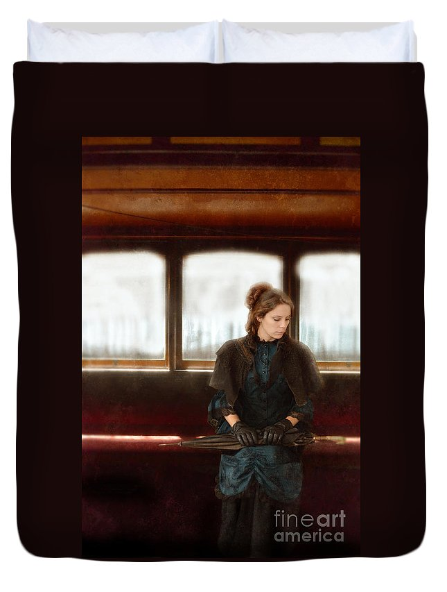 Woman Duvet Cover featuring the photograph Victorian Lady On Street Car by Jill Battaglia