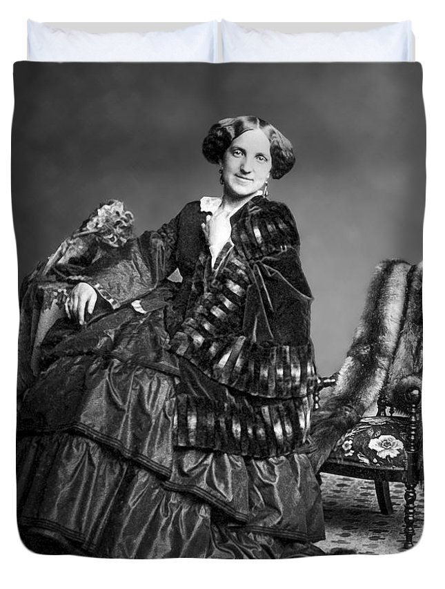 Daguerreotype Duvet Cover featuring the photograph Victorian Woman With Furs C. 1853 by Daniel Hagerman